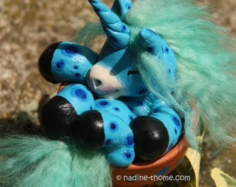 Lulu, the flowerpot unicorn. Polymer clay figurine, OOAK, hand sculpted fantasy creature, appaloosa foal, horses, ponys, house plant decor