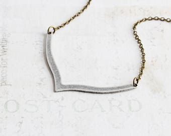 Antiqued Silver V Necklace, V Shaped Necklace on Antiqued Brass Chain, Two Tone, Simple Necklace, Geometric Jewelry