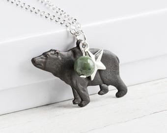 Black Bear Necklace, Oxidized Brass Bear Charm Necklace with Green Jasper Stone and Silver Star, Rustic Jewelry