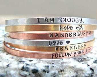 Custom Stacking Bracelets, Personalized Bracelets, Hand Stamped Bangle Bracelets, Personalized Layering Bracelets