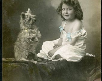 Adorable NORFOLK TERRIER DOG and Little Girl in Early 1900s French Photo Postcard