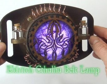 Steampunk  Gadget, Purple Lamp,  Alternative Gift , Lantern. Geek Gift, Same day handling, Cthulhu, Accessory, Unique Gift, Handmade Leather