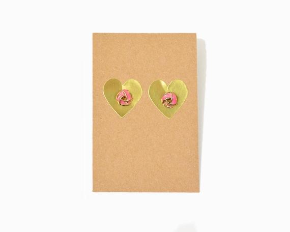 Vintage Hot Pink Twist Knot Earrings / 90s Neon Earrings / Post Earrings / Neon Pink