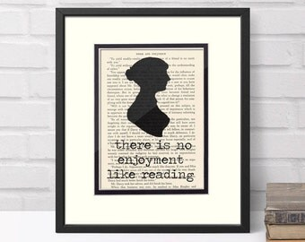 Jane Austen Reading Quote over Vintage Pride and Prejudice Book Page Graduation Gift