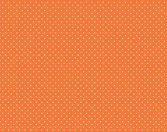 Orange Polka Dot Fabric - Riley Blake Swiss Dot - Orange and White Polka Dot Fabric By The 1/2 Yard