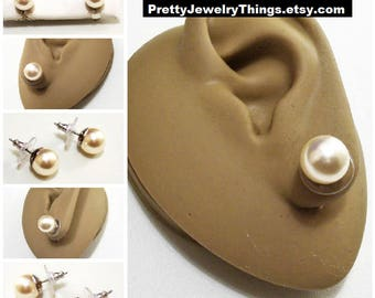 """White Pearl 9mm Bead Pierced Post Silver Tone Plated Vintage RMN Large Round 3/8"""" Studs"""