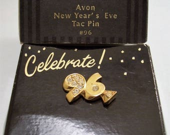 Avon New Year's Eve Crystal 96 Tac Pin Brooch Gold Tone Vintage 1995 Celebrate Clear Stones Large Numbers
