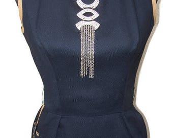 Vintage Maggi Stover Black & Tan Wiggle Pencil Dress