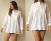 Vintage Semi Sheer White Embroidered Kaftan Blouse Folk Tunic Top Size XL