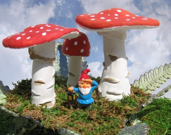 Handmade Mushrooms on Vintage Metal Fern Platform with Tiny Gnome