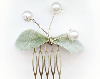 Pearl Hair Comb - Lambs Ear Greenery