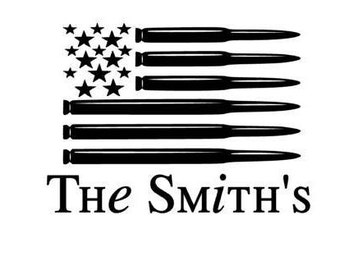 Personalized Bullet Flag  Vinyl Decal Sticker
