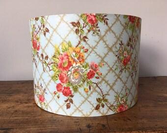 SALE Original 1950s chintz floral fabric drum lampshade 30cm