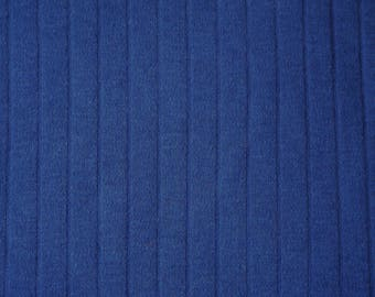 1 YARD, Poorboy Knit, Vivid Dark Blue, Flat Stripe Jersey, Soft Fashion Fabric, Lightweight Cotton Polyester, B4