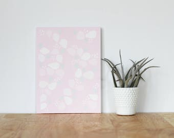 """pink wall art acrylic painting, """"petals"""" - are you my bestie, flat 6x8 canvas, bffs, best friends, portrait, gift, wall art, floral"""