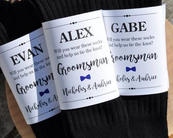 Sock Wraps for Groomsman, Best Man, Usher, Sock Labels, Groomsmen Gift, Sock Wrappers, Wedding Party **PRINTED & SHIPPED** - Set of 3 Wraps