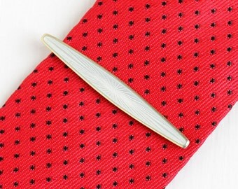 Sale - Vintage Gold Washed Sterling Silver White Guilloche Enamel Tie Bar - Men's DA David Andersen Tie Clasp Clip Norway Jewelry Accessory