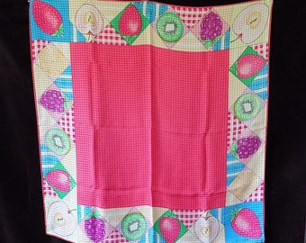 """ECHO Large 35"""" Silk Scarf with Oversized Fruit Border in Watermelon Hue"""