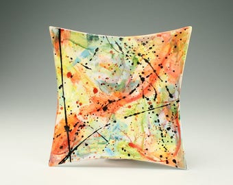 "Abstract Plate / Platter, Ceramic Modern Art Dinnerware - 10"" Square Colorful and Splatter Wall Decor"