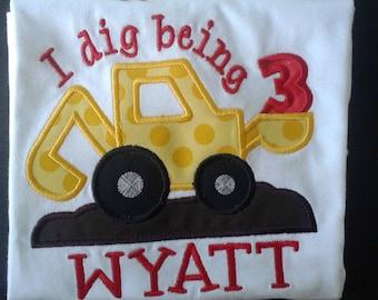 Boys Digger Birthday Shirt,  Front Loader Birthday Shirt, Construction Shirt, Birthdays 1-5 Available, Truck Shirt, Boys Birthday Shirt
