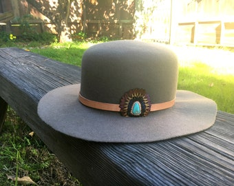Leather and Feather Hatband with Genuine Turquoise