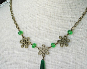 Celtic Knot Necklace with Green Stones, Irish jewelry, Scottish Jewelry