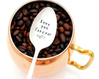 love you forever hand stamped coffee spoon. Stamped Vintage Teaspoon. Gift Idea for Coffee Lover. The ORIGINAL Hand Stamped Vintage Spoons™