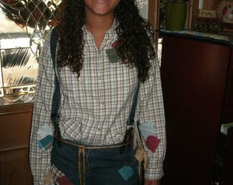 Womens size 6 Petite  handmade Scarecrow costume-jeans with suspenders-shirt-hat & belt one of a kind