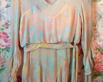 1920's Silk FLAPPER DRESS Gorgeous DETAILS Vintage