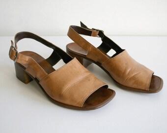 SALE Italian Leather Heeled Sandals 35