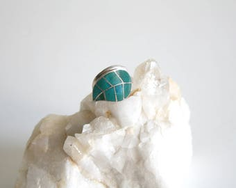 Inlaid Turquoise Sterling Leaf Adjustable Ring