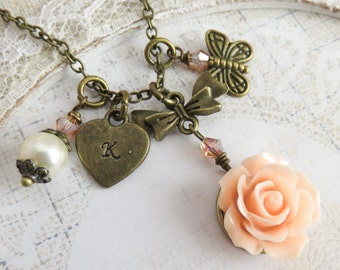 Personalized peach flower necklace, flower girl necklace, initial necklaces, butterfly jewelry, fall wedding jewelry
