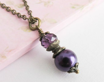Dark purple pearl necklace, bridesmaid necklace, vintage style wedding jewelry, bridesmaid gift, bridal party gift