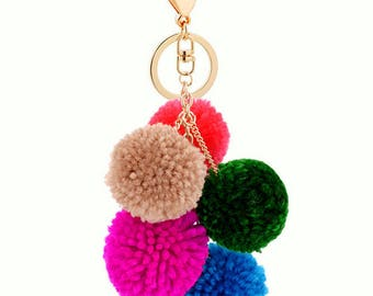 Oversized Multicolour Colorful Mixed Colors Yarn Puff Pom Poms Gold Keychain Key Ring Chain B01
