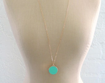 Pendant Necklace - Gold Necklace - Enamel Necklace - Mint green Necklace - Boho Necklace - Round Necklace - handmade jewelry
