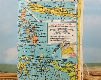 Southeast Asia Map Travel Journal with Vintage Hammond Atlas Colorful Map Canvas Cover