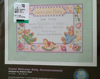 Pastel Welcome Baby Announcement, Dimensions Counted Cross Stitch Kit NIP 35030