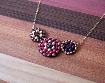 Beaded red gold black 14k gold filed round necklace