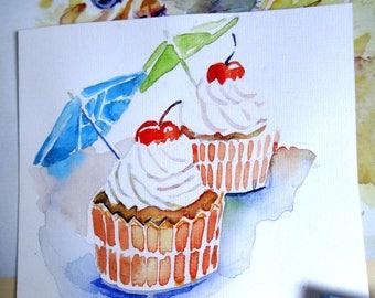 Cupcakes with umbrella. Birthdaycard. Original painted.