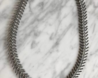 Antique Silver Fishbone Necklace, Statement Necklace, Fishbone Jewelry, Minimal