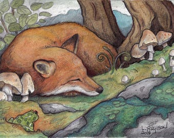 Sleeping Fox.....Original Miniature Art