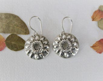 Round Silver Flower Earrings