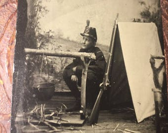 Exceptional Antique Tintype Photo - Young Armed Soldier Tent / Camp Scene