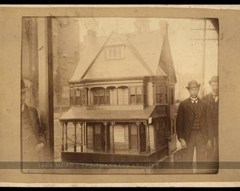 Rare Advertising Cabinet Card 1880s / Men with Miniature Scale Model of House