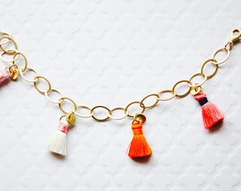 Colorful Tassel Gold Bracelet, Colorful Tassel Bracelet, Matte Gold Plated Tassel Bracelet, Fiber Tassels, Colorful Tassels, Ready to Ship