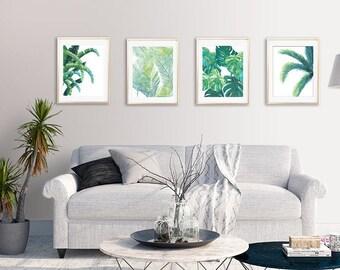 Tropical Leaf Prints, Tropical Leaf Art, Tropical Wall Decor, Banana Leaf,  Beach