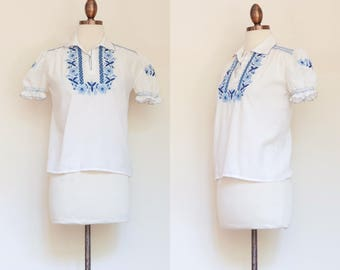 vintage 1940s embroidered European cotton blouse   40s 50s puff sleeve top with blue floral embroidery   S