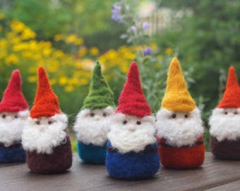 Needle Felted Gnome - Pocket Gnome - Wool Felt Gnome Wearing YOUR CHOICE of Colors