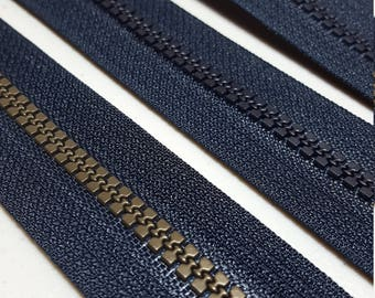 Heavy Duty Zippers--21 inch, Lot of Three (3) pieces  in Navy/Black