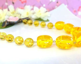 Citrine yellow amber nugget statement necklace, chunky golden yellow amber citrine round gold filled necklace
